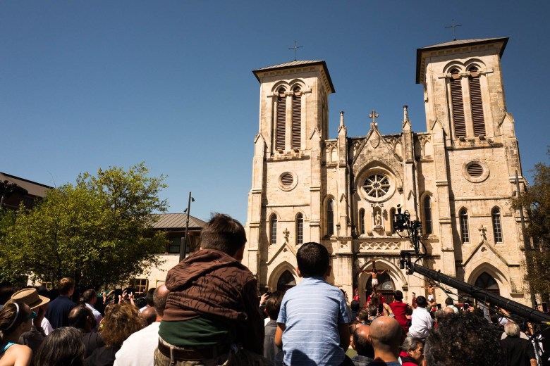 Hundreds of people gathered at San Fernando Cathedral to view the Passion Play. Photo by Scott Ball.