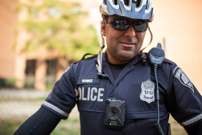 Officer Gomez of the SAPD is outfitted with a body cam. Photo by Scott Ball.
