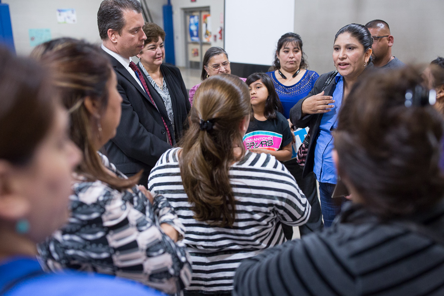 Angelica Salazar (right) addresses her concerns to fellow parents and SAISD Superintended Pedro Martinez. Photo by Scott Ball.