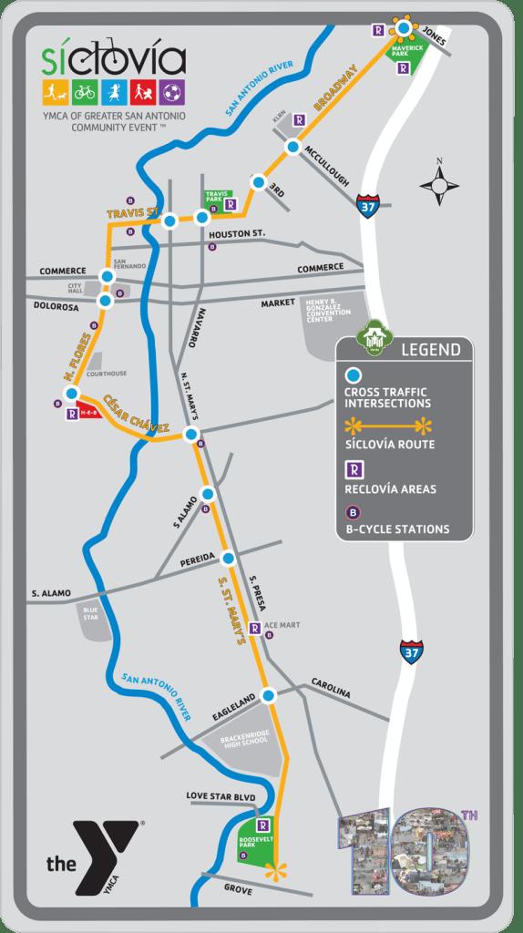 Síclovía 2016 Route. Photo courtesy of YMCA of Greater San Antonio.
