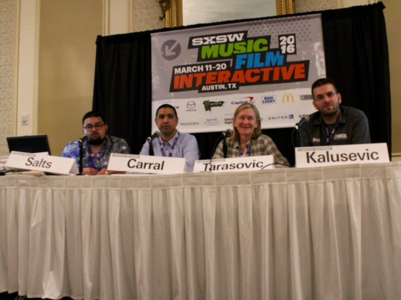 San Antonians (from left) Ryan Salts, Manny Carral, Cathy Tarasovic and Boyan Kalusevic react to an attendee's question on niche beverage businesses at Austin's Driskill Hotel on Monday, March 14, 2016. Photo by Edmond Ortiz