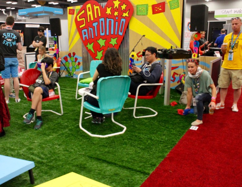 """South by Southwest trade show visitors hang out at the San Antonio """"icehouse"""" space on Tuesday, March 15, 2016. Photo by Edmond Ortiz"""