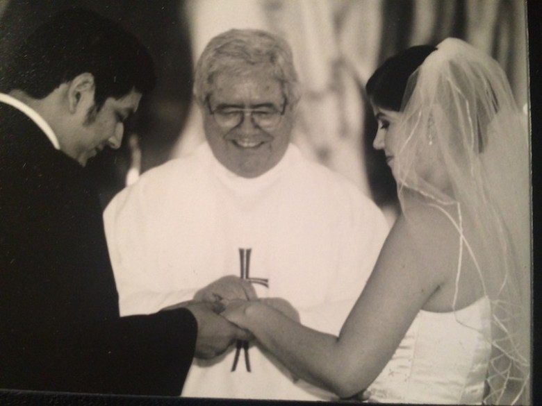 Fr. Virgilio Elizondo officiates the marriage of Victor and Cristina Sosa Noriega. Courtesy photo.