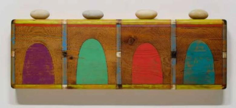 Sympathetic Beliefs - Spiritual Equilibrium, 1998-2001, acrylic and ink on wood, rocks . Image Courtesy of David S. Rubin