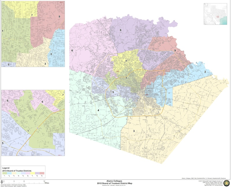 A map of Alamo Colleges voting districts.