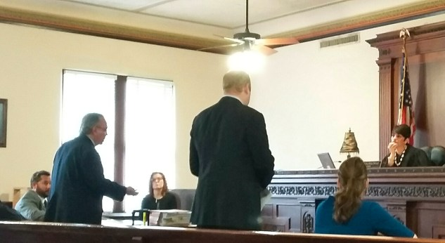 Robert Valdez (left), an attorney representing the late Fr. Virgilio Elizondo in a lawsuit, makes a point during a temporary injunction hearing in Judge Laura Salinas' courtroom on Tuesday, April 26, 2016. Photo by Edmond Ortiz
