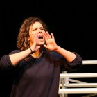 """Maggie Tonra's character yells at another character during an eight hour tech rehearsal for AtticRep's production of """"Soccer Mom,"""" directed by Marisela Barrera at the Tobin Center for Performing Arts. Photo by Bria Woods."""