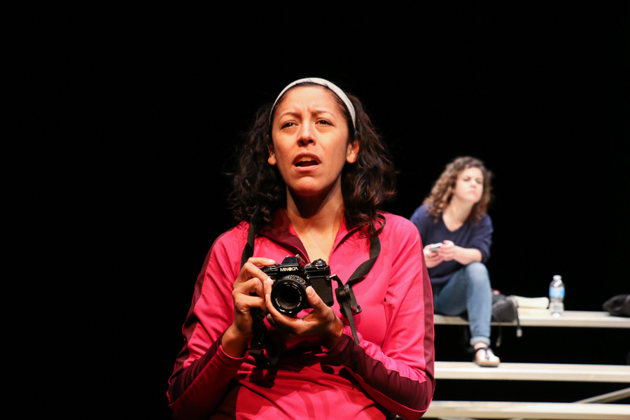 """Anna De Luna channels her character during an eight hour tech rehearsal for the AtticRep production """"Soccer Mom,"""" Directed by Marisela Barrera, at the Tobin Center for the Performing Arts. Photo by Bria Woods."""