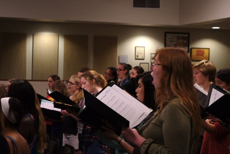 Members of Trinity's Women's Choir in rehearse in preparation for the showcase. Photo by Hunter Wilkins.