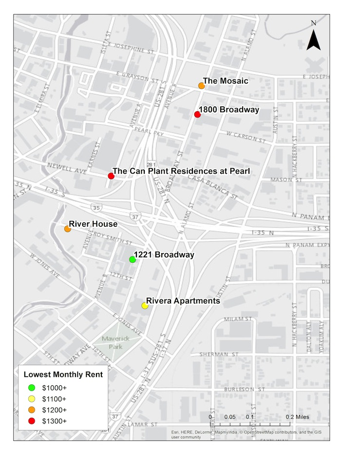 Apartment complexes close to (and at) the Pearl. Map created by Marcella Reyes for the Rivard Report.