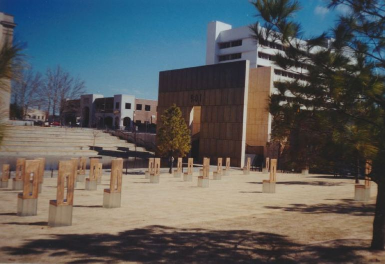 An empty chair represents each of the 168 victims who died in the Murrah Federal Building bombing. Photo by Don Mathis.