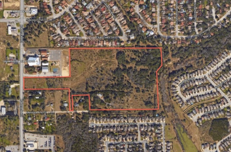An approximate outline of the 36 acres up for rezoning. Image via Google Maps.