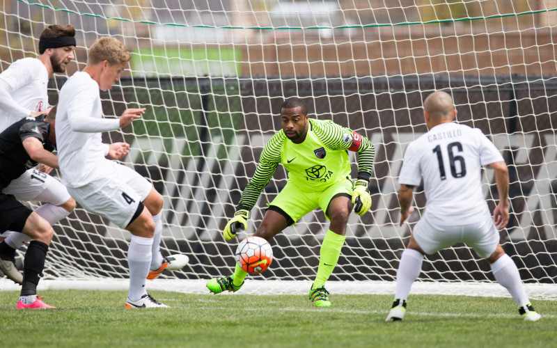 San Antonio FC goalkeeper Josh Ford (1) defends in the first half against Switchbacks FC at Switchbacks Stadium. Photo by Isaiah J. Downing for Switchbacks FC.