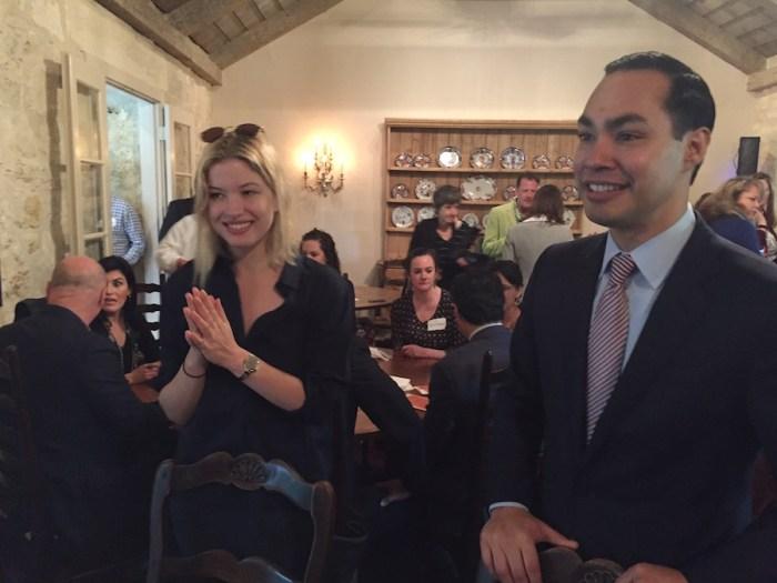 HUD Secretary and former San Antonio Mayor Julían Castro and Johanna Flato visit with attendees of the pre-Book Festival VIP breakfast. Photo by Robert Rivard.
