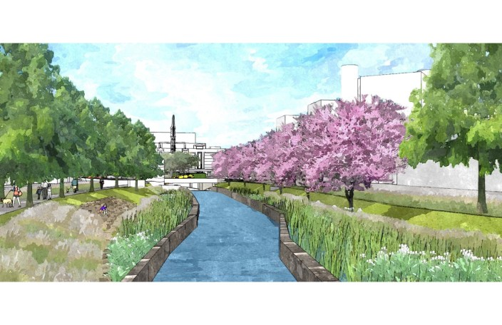 This is a future view looking towards the Alameda Theater. Aquatic plantings will catch litter and filter pollutants from storms before they enter the San Pedro Creek. Image courtesy San Antonio River Authority.