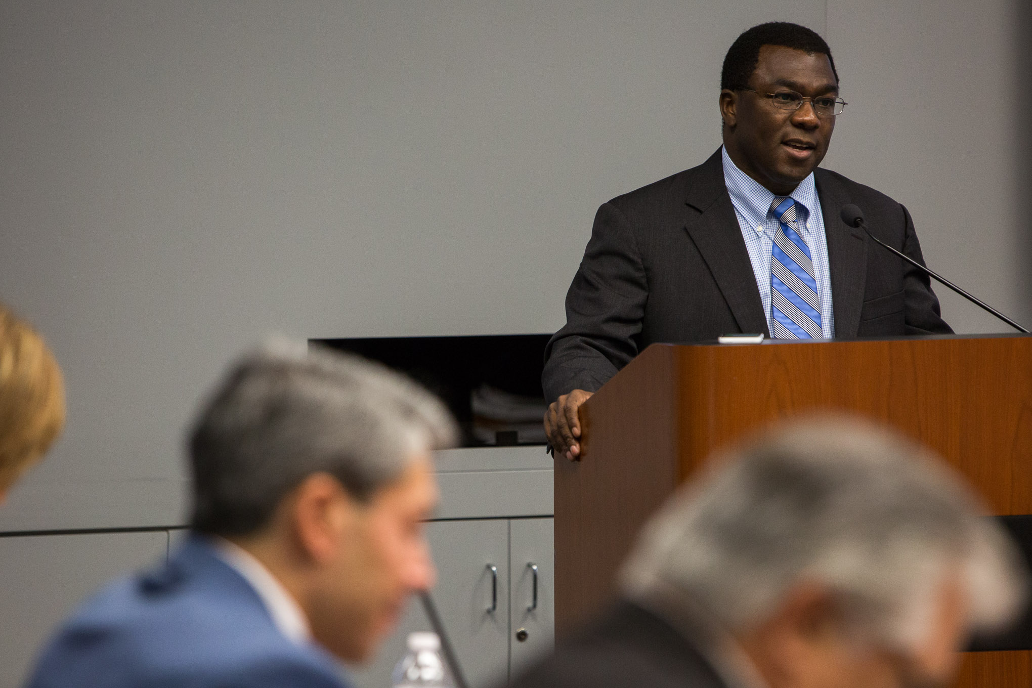 City of San Antonio EastPoint Director Mike Etienne highlights accomplishments from the program. Photo by Scott Ball.