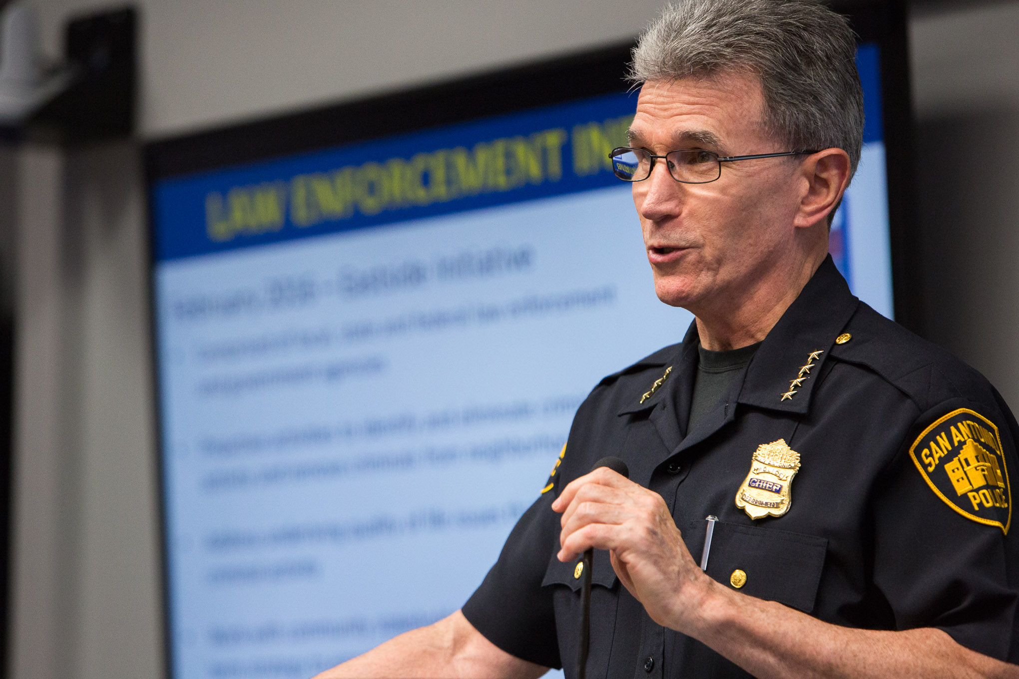 San Antonio Police Department Chief William McManus gives an update on crime in the Eastside Promise Zone. Photo by Scott Ball.