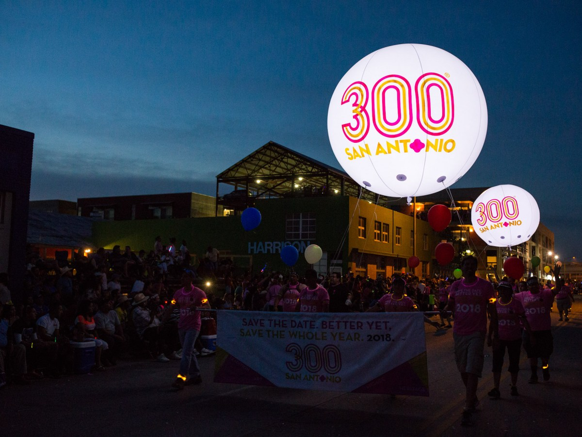 The Tricentennial Commission celebrates the future 300th birthday of San Antonio with inflated balloons.
