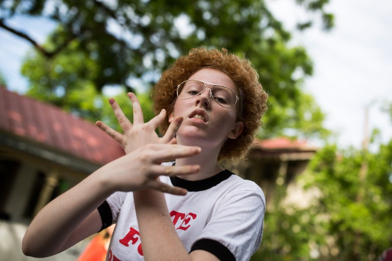 A parade attendee dressed as Napoleon Dynamite. Photo by Scott Ball.