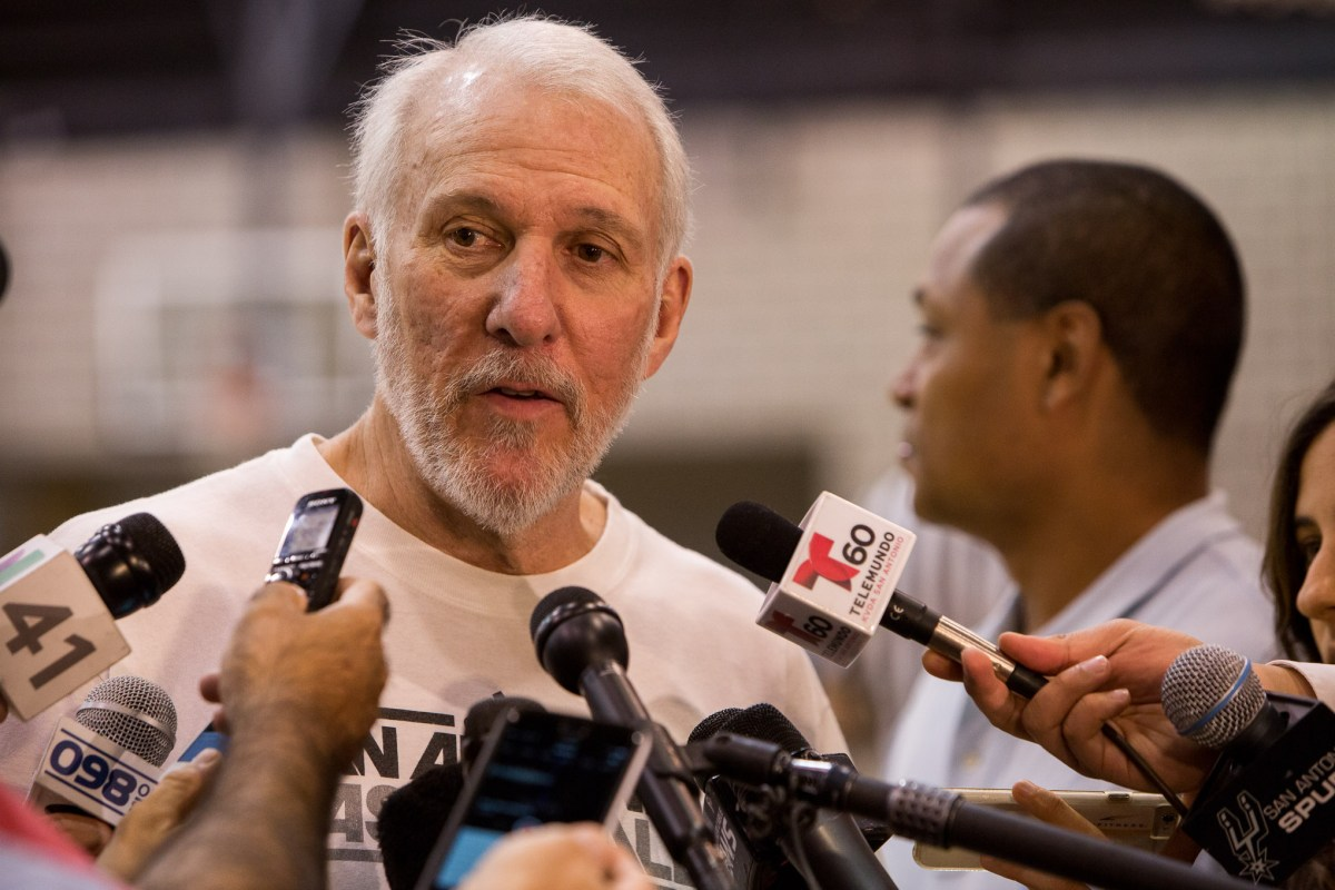 San Antonio Spurs Head Coach Gregg Popovich speaks with reporters during practice April 27th, 2016. Photo by Scott Ball.