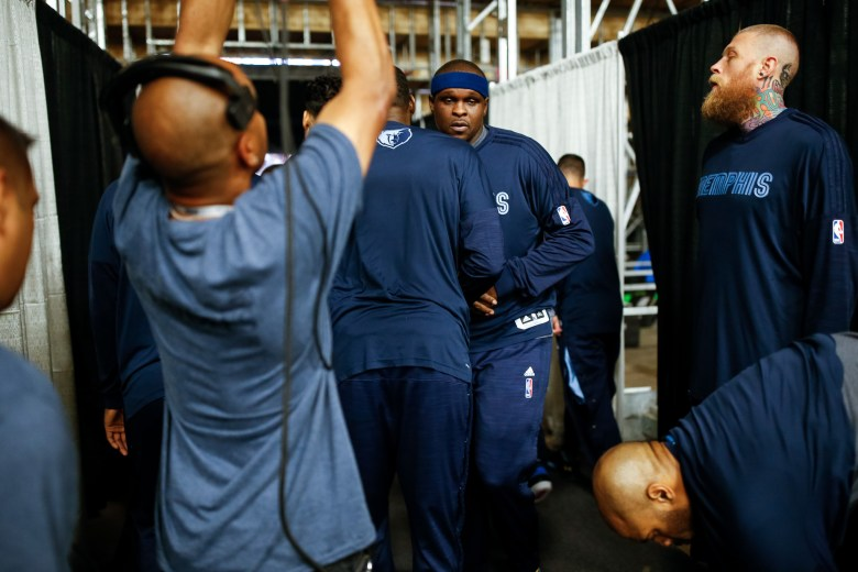 Memphis players prepare to enter the court just before the game. Photo by Scott Ball.