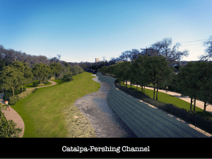 Proposed redevelopment of Catalpa-Pershing Channel. Courtesy of Brackenridge Park Conservancy.