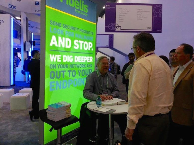 """Fidelis Chief Cyber Services Strategist Jim Jaeger talks to attendees at the RSA Cybersecurity Conference in San Francisco March 2016,""""  Photo Courtesy of Fidelis Cybersecurity."""