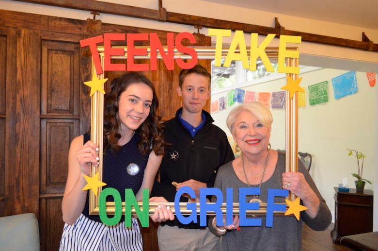 Kim Ternan (left) poses with her brother Jack (center) and grandmother, Carol Boerner (right) during the April 1st premiere of her film about teens taking steps to seek help and support when grieving the loss of a loved one. Jack was Kim's inspiration for the video. Image Courtesy of Children's Bereavement Center
