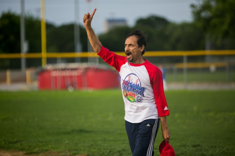 Actor Jesse Borrego celebrates the Hall of Famers first point. Photo by Kathryn Boyd-Batstone