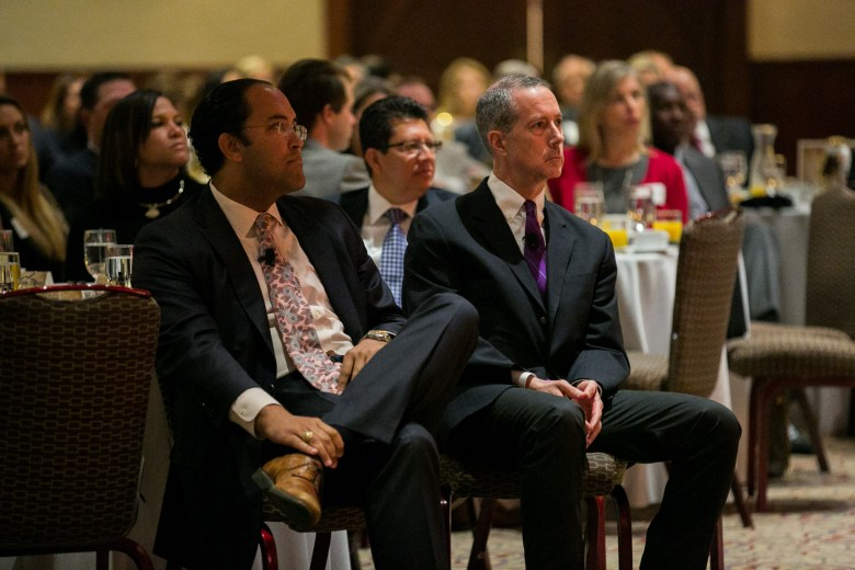 Panelists Congressman Mac Thornberry, and Congressman Will Hurd await to take the stage. Photo by Kathryn Boyd-Batstone
