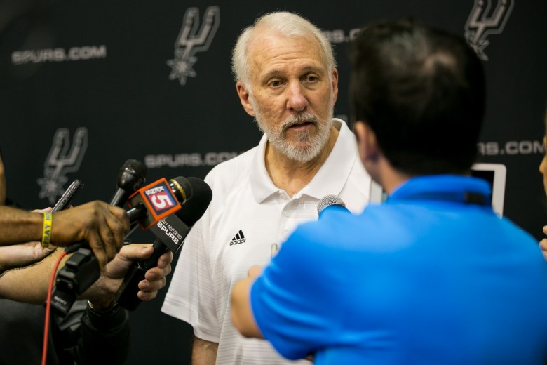 Head coach of the San Antonio Spurs Gregg Popovich speaks about RC Buford being named NBA Executive of Year. Photo by Kathryn Boyd-Batstone