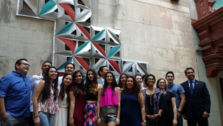 UTSA College of Architecture students stand in front of their public art installation with Councilman Roberto Treviño (D1). Photo by Iris Dimmick.