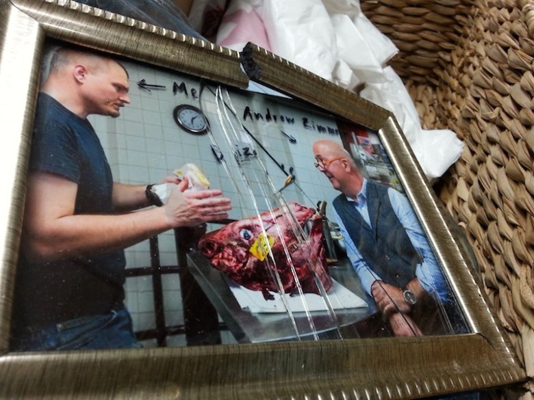 A framed photograph of Chef Michael Sohocki was damaged during Restaurant Gwendolyn's last day at the farmers market. Photo courtesy of Michael Sohocki.