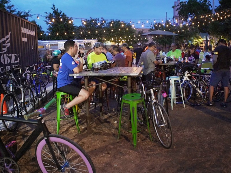 The SATX Social Ride ends with a beer at Burleson Yard Beer Garden. Photo by Kathryn Boyd-Batstone