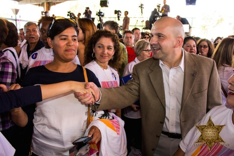 Javier Salazar shakes hands with supporters during a recent campaign event. Photo courtesy of Javier Salazar's campaign.