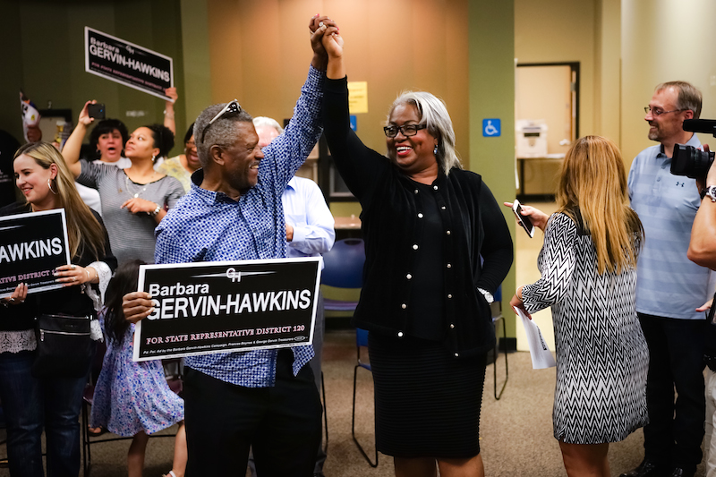 Barbara Gervin-Hawkins celebrates with supporters after her landslide victory for the Texas House District 120 seat. Photo courtesy of Barbara Gervin-Hawkins' campaign.