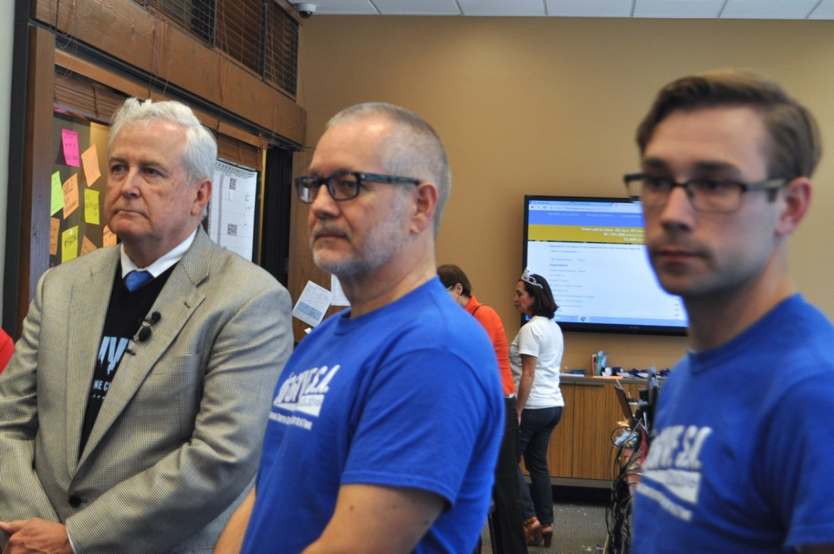 From left: San Antonio Area Foundation President and CEO Dennis Noll, San Antonio Nonprofit Council Executive Director Scott McAninch, and nonprofit consultant John Burnam called for individuals to keep donating to nonprofits. Photo by Iris Dimmick.
