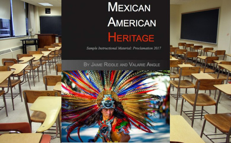 """The proposed textbook, """"Mexican American Heritage,"""" was produced by Momentum Instruction."""
