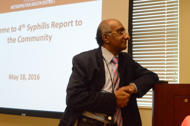 Dr. Anil T. Mangla, the assistant director of Metro Health's Communicable Diseases Division prepares for the press conference Wednesday. Photo by Lea Thompson