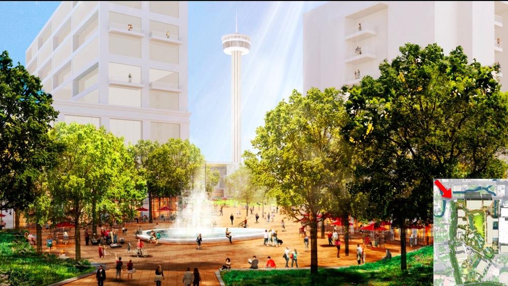 Hemisfair Park's Source Plaza. Rendering courtesy of the Hemisfair Park Area Redevelopment Corporation.