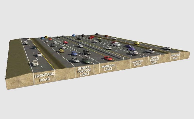 Cross section of the new HOV lanes on IH-10. Image courtesy of TxDOT.