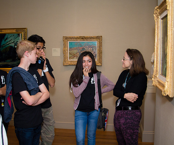 McNay docent on tour with teens. Photo courtesy McNay Art Museum.