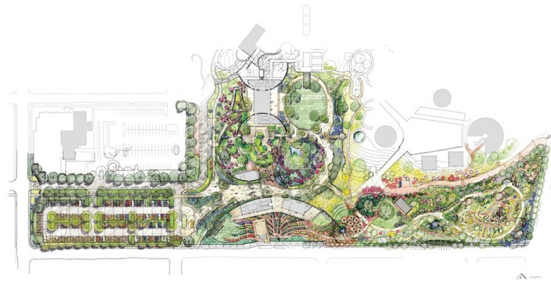 Site and landscaping plan for the San Antonio Botanical Garden expansion. Rendering courtesy the San Antonio Botanical Garden.