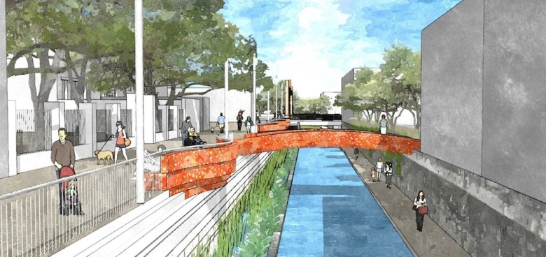 A rendering of how the San Pedro Creek Improvements Project plans to redevelop the creek adjacent to the Spanish Governor's Palace. Rendering courtesy of the San Antonio River Authority.