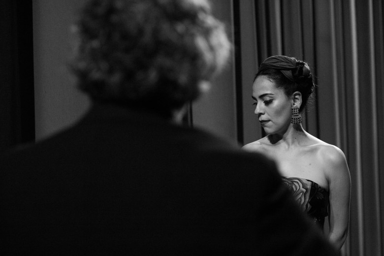 Azul Barrientos waits patiently before the opening performance. Photo by Scott Ball.