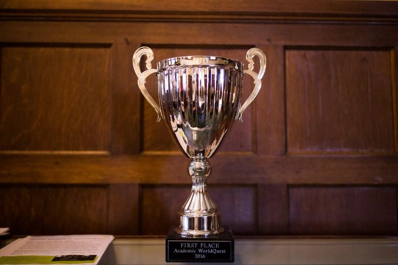 Keystone School's Academic WorldQuest trophy. Photo by Scott Ball