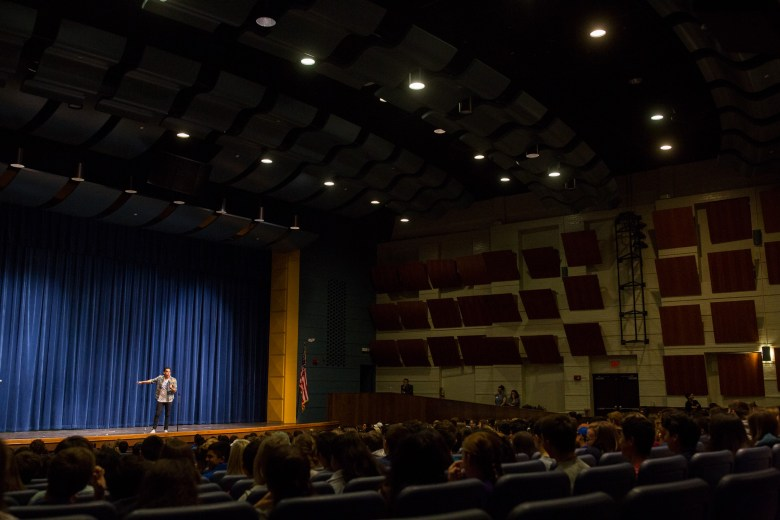 Motivational Youth Speaker Gabe Salazar speaks to students at the Alamo Heights High School auditorium. Photo by Scott Ball.