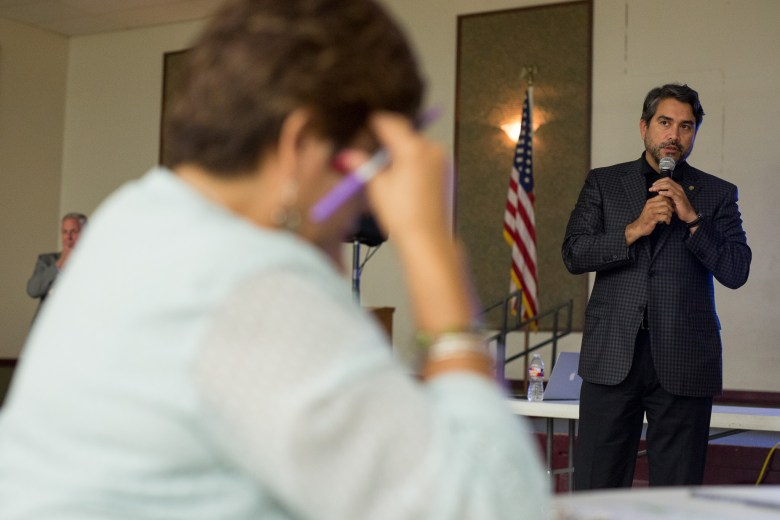 Councilman Roberto Treviño (D1) addresses the attendees. Photo by Scott Ball.