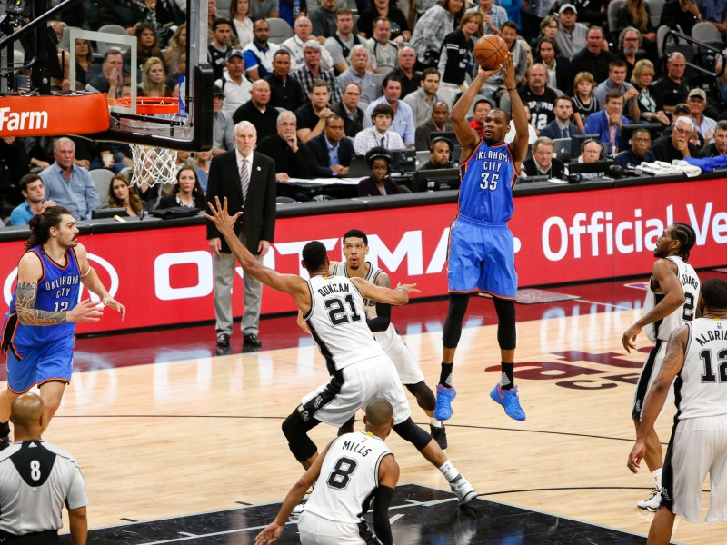Oklahoma City Thunder Forward #35 Kevin Durant takes a jump shot late in the 4th quarter. Photo by Scott Ball.