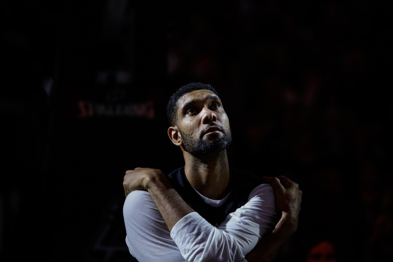 Spurs Forward Tim Duncan looks up as the team introduction video plays. Photo by Scott Ball.